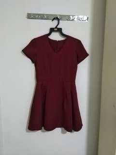 Maroon V Neck Dress