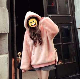 粉紅毛絨帽T上衣