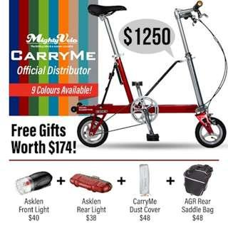 💁‍♂️ CarryMe Launch Sale 💁‍♂️ Single Speed 💁‍♂️ Only at $1099 🎁 Free Akslen Front ($40) and Rear ($38) lights and CM Dust Cover ($48)🎁