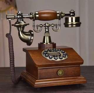 🚚 Vintage Retro Wooden Collectible Telephone With Drawer Compartment