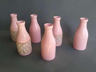 Small Pink Miniture Milk Bottles for Floral Table Display