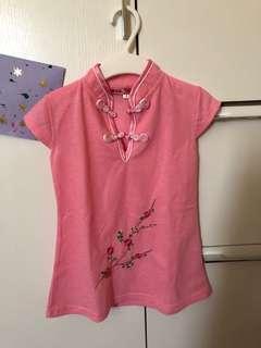 中式旗袍款粉紅色棉質連身裙