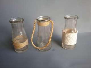 Small Glass Jars w/ Burlap/Heshion Surrounds for Table Settings
