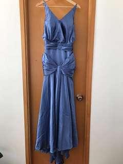 Evening satin blue maxi dress