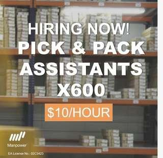 600x of Warehouse Assistant $10/hr
