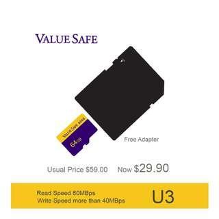 ValueSafe 64GB High Speed SDXC U3 MicroSD TF Card