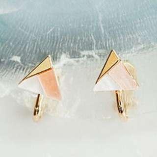 💙凍感三角冰點 耳夾一對 粉橘配色