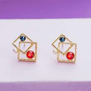 🔴🔵⚪️紅藍寶石白珍珠 耳夾單隻 混搭的精彩