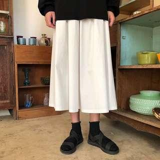 韓版複古鬆緊高腰直筒白色寬鬆甲字休閒學生中長款半身裙女