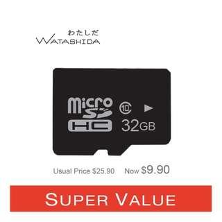 Watashida 32GB High Speed SDHC Class 10 MicroSD TF Card