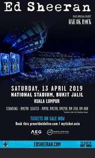 Category 3 Ed Sheeran Kuala Lumpur Concert Ticket on 13 April 2019 at 8.30pm (2 TICKETS in Category 3)