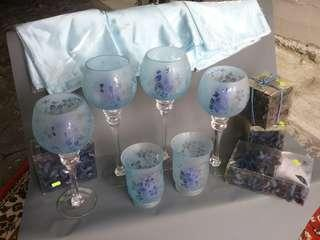 Complete Set of Blue Themed Table Dressings