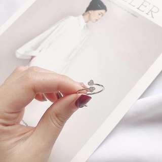 🚚 雙心可調式戒指