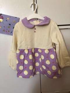 全新🆕 紫色x米色長袖連身裙