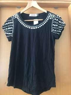 (New) Black embroidered top