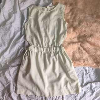 White Chiffon Cut Out Dress