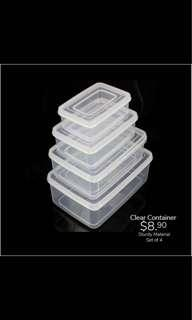 Clear storage container set
