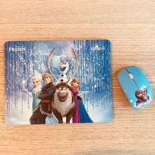 Elsa Frozen Mouse pad with wireless mouse 冰雪奇緣無線滑鼠連滑鼠墊