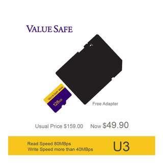 ValueSafe 128GB High Speed SDXC U3 MicroSD TF Card