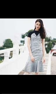 Flap over flare dress in checks