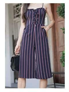 Flap over lace up jumpsuit in navy strips