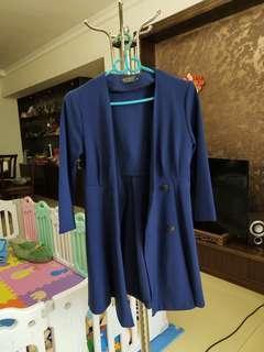 藍色長袖連衣裙韓版修身s碼9成新