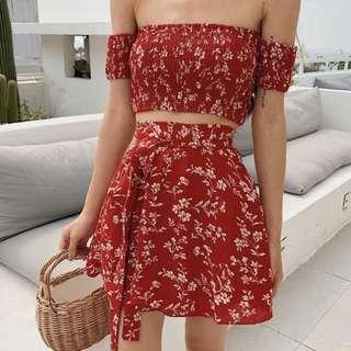 Smocked crop top and wrapped skirt