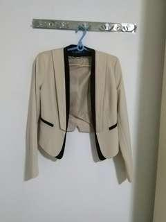 Miss Selfridge Contrast Cream & Black Blazer