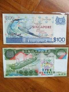 🚚 Singapore bird $100 and $500 A/1 notes