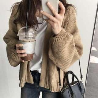 ulzzang beige knitted cardigan