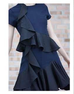 Tiered ruffled dress in Navy