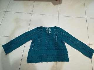 Crochet blue green top