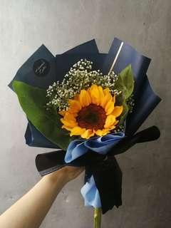 Single stalk sunflower graduatiom bouquet
