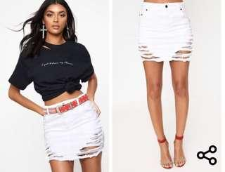 White Denim Skirt Pretty Little Thing