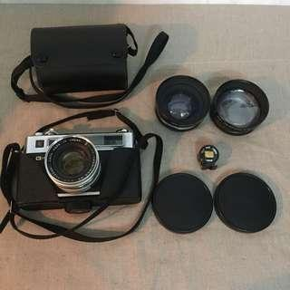 Yashica electro 35 film camera with 3 lens (wide and tele lens) and view finder