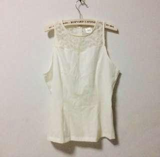 🚚 BN white halter neck lace lacy back top blouse sleeveless