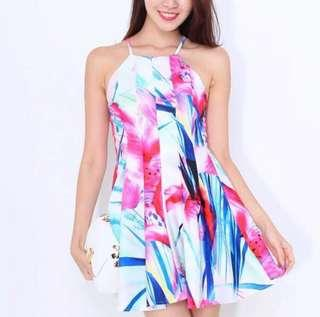 BN criss cross bow tie bare back watercolor floral dress
