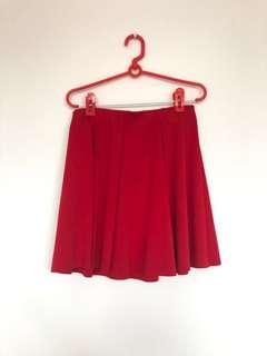 ZARA red pleat skirt