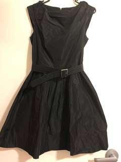 'Cue' Black Dress with Belt Size 8