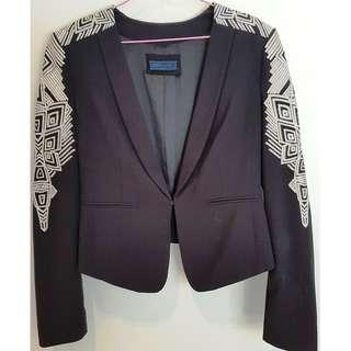 BLACK EMBROIDERED WITH WHITE GEOMETRIC PATTERNS BLAZER