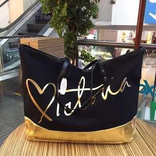 Victoria Secret original black gold Tote Bag