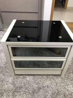 Glass top 2 Drawer bedside table