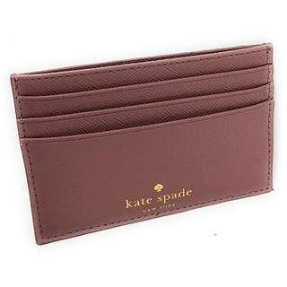 Kate Spade New York Graham Greta Court Wallet Business Credit Card Case Glitter Dusty Peony