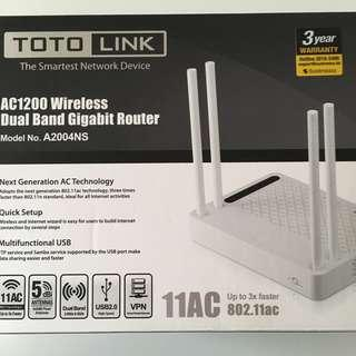 Toto Link AC1200 Wireless Dual Band Gigabit Router (A2004NS)