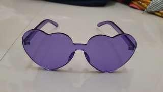 Purple sunglasses bentuk hati heart love tosca yellow kuning acrylic ungu