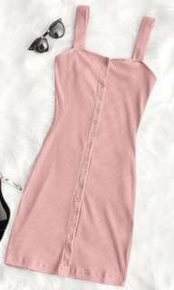Snap button ribbed pink dress size S