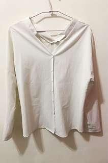 韓版白色v領薄襯衫(二手出清)