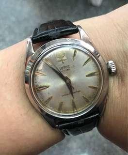 古董Tudor 大花7934手上弦全鋼男手表 尖字劍針,表身直徑34mm不包括表的量度,塑膠上蓋。原庒Rolex 表的。原庒手上弦機芯功能正常。送靚皮帶 已洗油 $5800