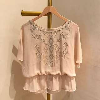 Cream studd blouse