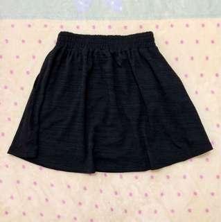 🚚 黑色棉質鬆緊短裙(二手出清)